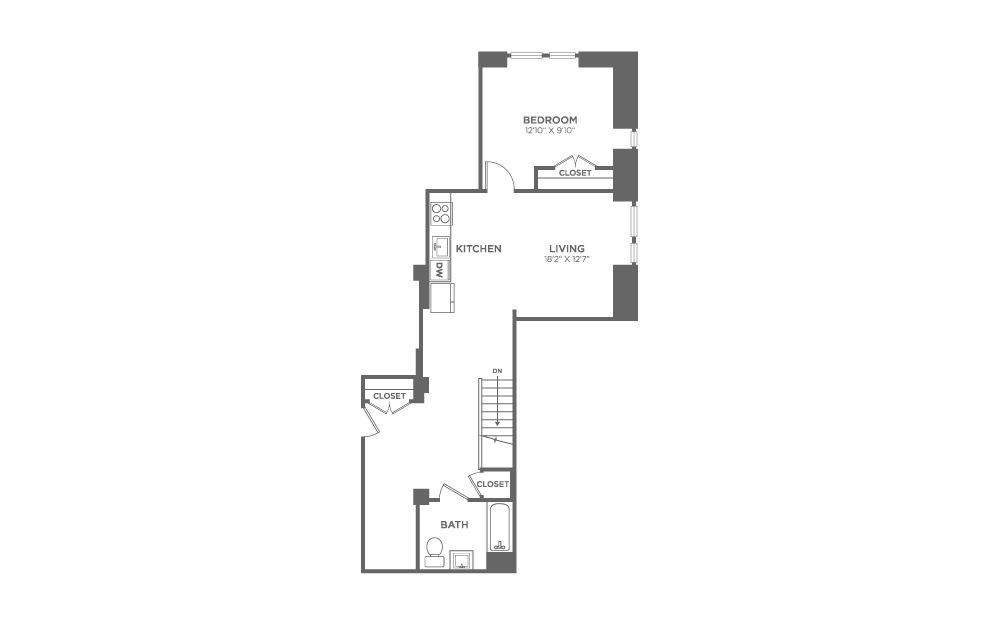 1 bed 1.5 baths 1264 sq.ft.