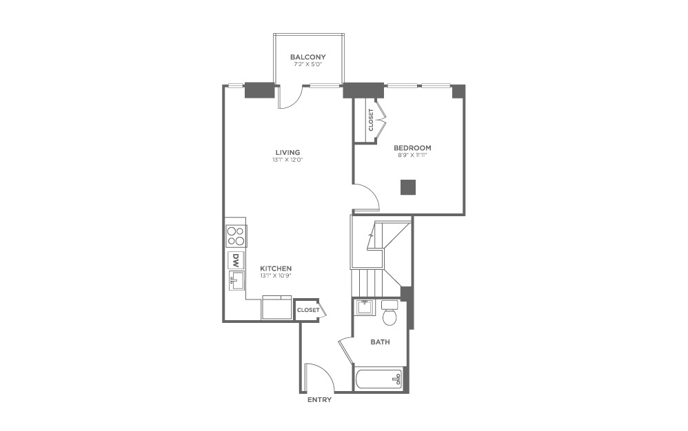 1 bedroom 1.5 bath 1155 sq.ft.