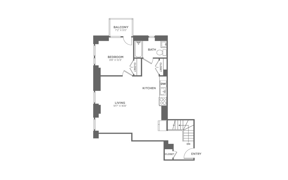 1 bedroom 1.5 bath 1538 sq.ft.