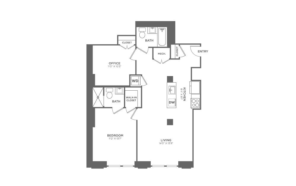 1 bedroom 2 bath 954 sq.ft.