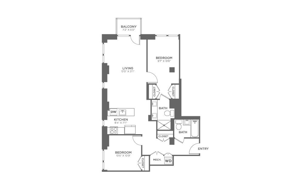 2 bedroom 2 bath 1044 sq.ft.