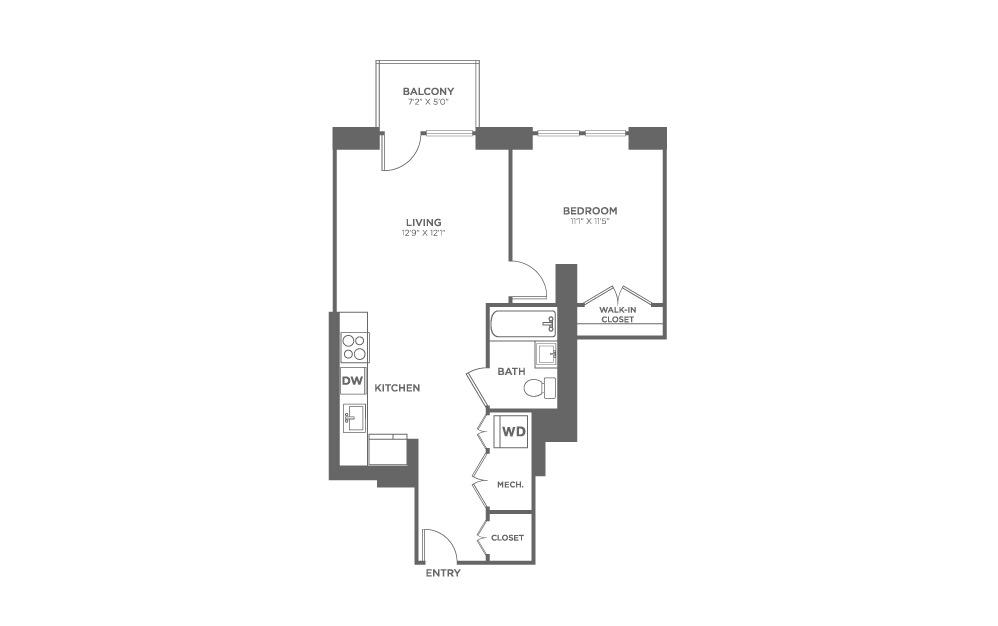 1 bedroom 1 bath 608 sq.ft.