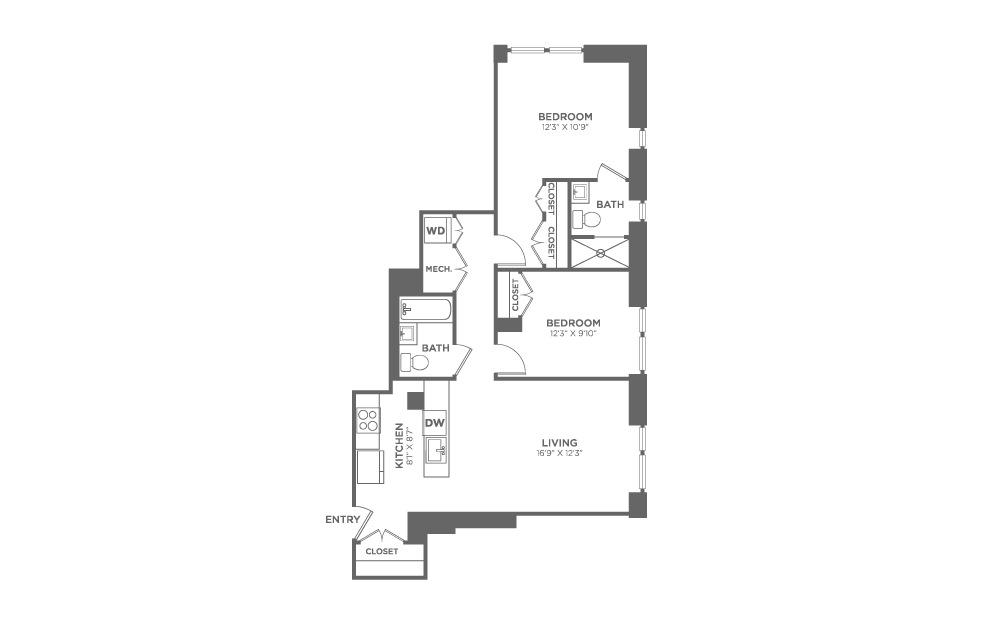 2 bedroom 2 bath 948 sq.ft.
