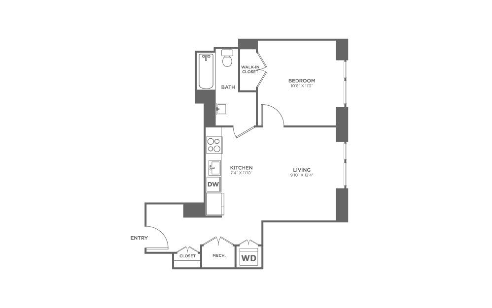 1 bedroom 1 bath 598 sq.ft.