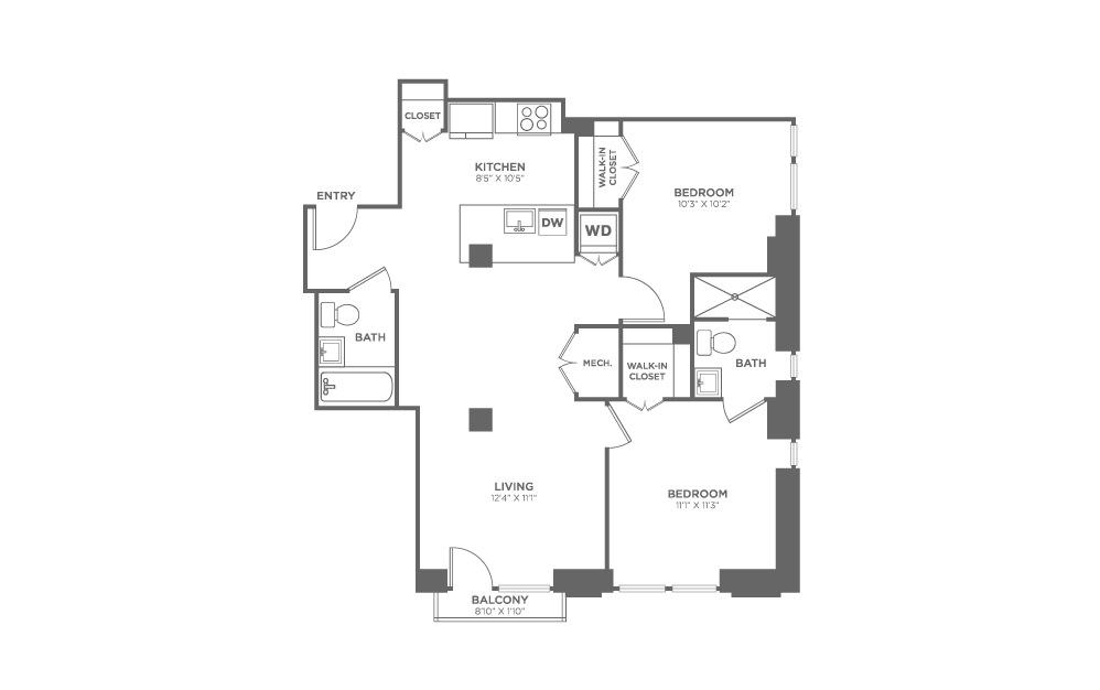 2 bedroom 2 bath 957 sq.ft.