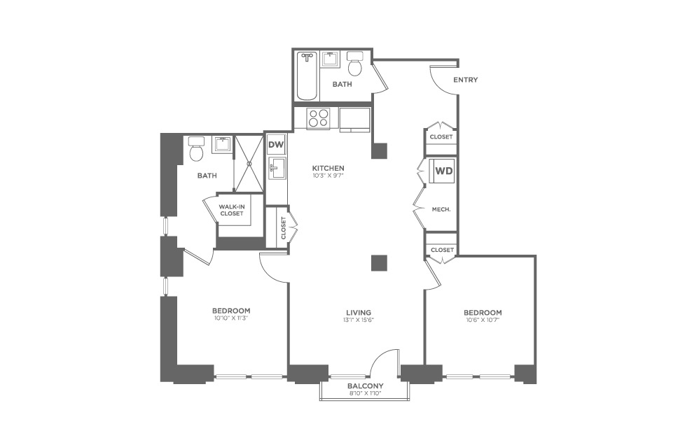 2 bedroom 2 bath 950 sq.ft.