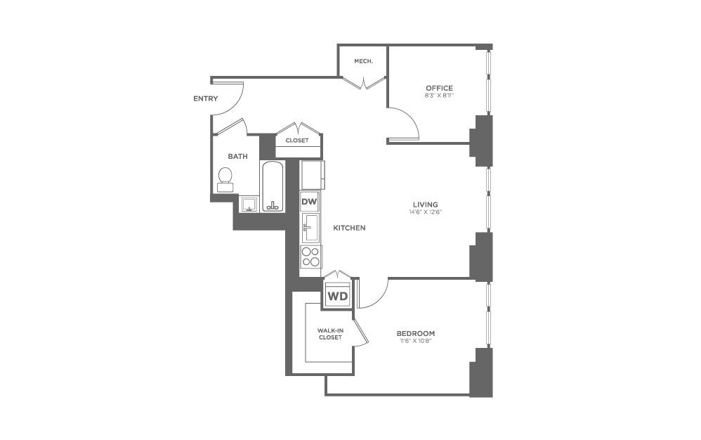 1 bedroom 1 bath 724 sq.ft.